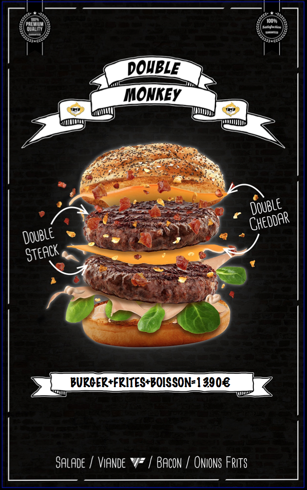 double steak - double cheddar - salade - oignons frits - sauce burger