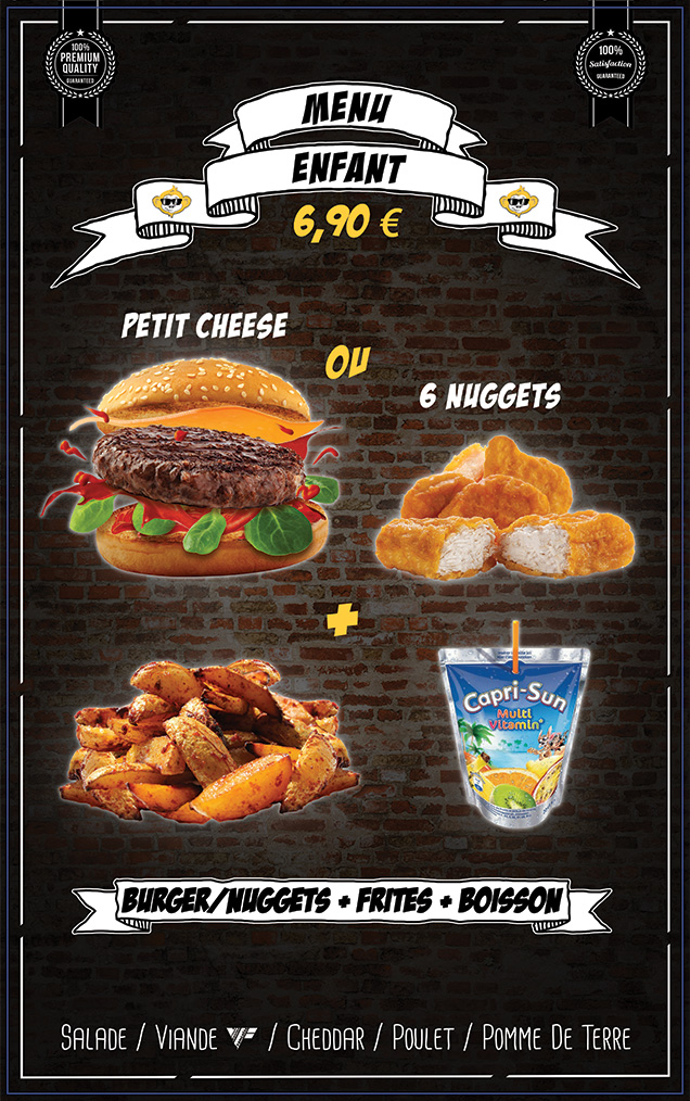 burger ou nuggets - frites - jus d'orange